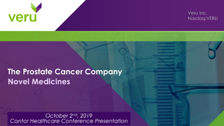 Veru speaks at Cantor Fitzgerald Global Healthcare Conference, October 2, 2019