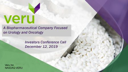 Veru FY 2019 Fourth Quarter Earnings Investors Conference Call 12-10-19